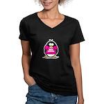 Hot Momma Penguin Women's V-Neck Dark T-Shirt
