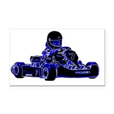 Kart Racing Blue and White Rectangle Car Magnet