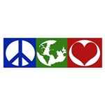 Peace, Earth, Love (iconic bumper sticker)