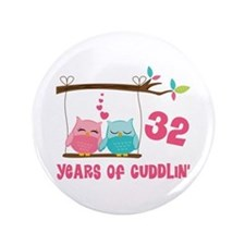 "32nd Anniversary Owl Couple 3.5"" Button"