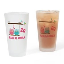 20th Anniversary Owl Couple Drinking Glass