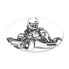 Kart Racing Pencil Sketched Oval Car Magnet