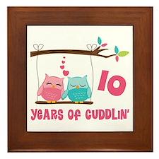10th Anniversary Owl Couple Framed Tile
