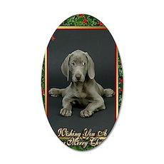 Weimaraner Dog Christmas 35x21 Oval Wall Decal