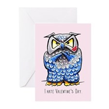Grumpy Owl Pink Valentine Greeting Cards