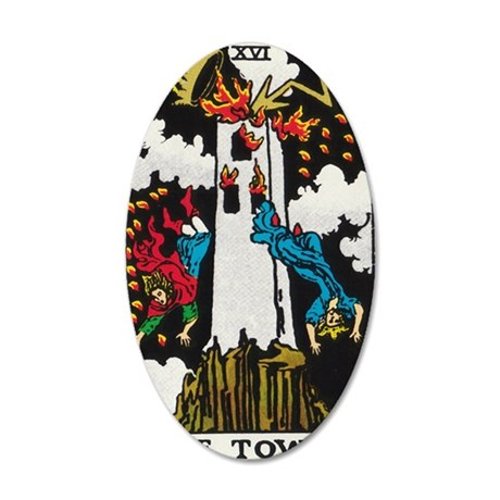 THE TOWER TAROT CARD 35x21 Oval Wall Decal