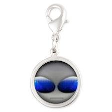 Dj Blue Silver Round Charm