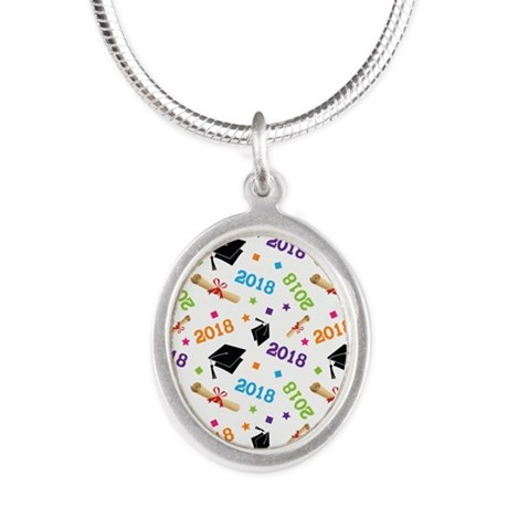 Class Of 2018 Gift Silver Oval Necklace