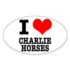 I Heart (Love) Charlie Horses Oval Decal