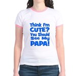 Think I'm Cute? Papa Blue Jr. Ringer T-Shirt