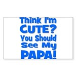Think I'm Cute? Papa Blue Rectangle Sticker