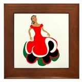 Female Mexican Dancer Framed Tile