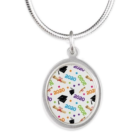 2020 Graduation Class Silver Oval Necklace