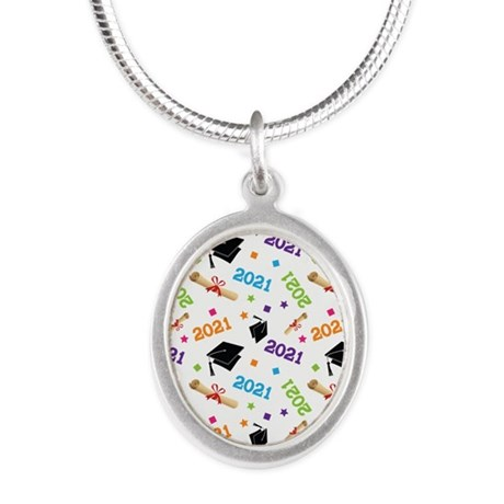 Class of 2021 Grad Gift Silver Oval Necklace