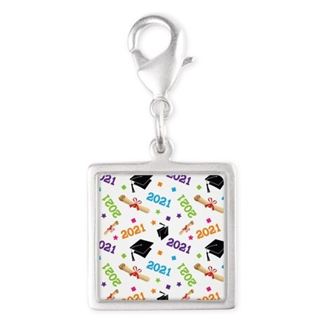 Class of 2021 Grad Gift Silver Square Charm