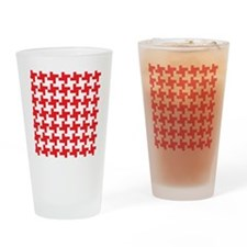 Retro Houndstooth  Vintage Red Drinking Glass