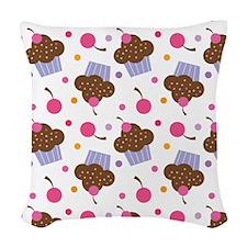 Cute Cupcake Chocolate Woven Throw Pillow