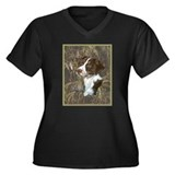 Brittany Spaniel Women's Plus Size V-Neck Dark T-S