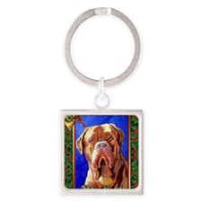 Dogue De Bordeaux Dog Christmas Square Keychain
