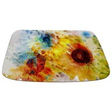Watercolor Sunflowers Bathmat