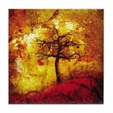 Tree on Fire Tile Coaster