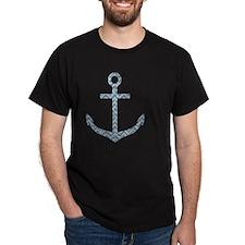 Nautical Faux Glitter Blue Chevron An T-Shirt