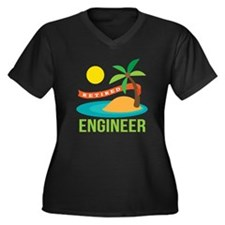 Retired Engineer Women's Plus Size V-Neck Dark T-S