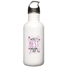 Cute Flowery Worlds Best Mom Water Bottle
