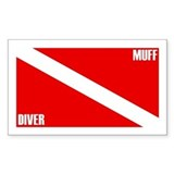 Muff Diver Down Rectangle Sticker