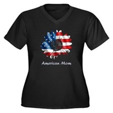 American Mom Women's Plus Size V-Neck Dark T-Shirt