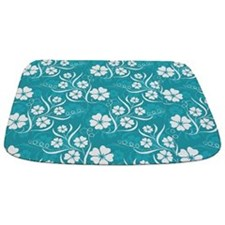 White Plumeria and Vines on Turquoise Mat Bathmat