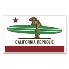 California Surfing Bear Longbo Decal