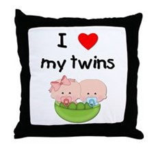 I love my twins (3) Throw Pillow