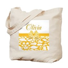 Yellow Bow Custom Name Tote Bag