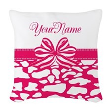 Girly Hot Pink Ribbon Woven Throw Pillow