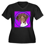 German Shorthair Pointer Head Women's Plus Size V-
