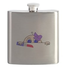 Girl Baby Peeking with Lipstick and Bow Flask