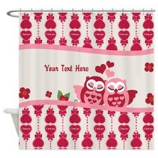 Valentines Owl Couple Shower Curtain