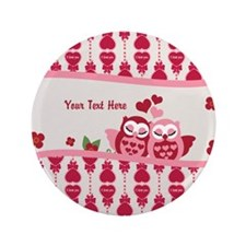 "Valentines Owl Couple 3.5"" Button"