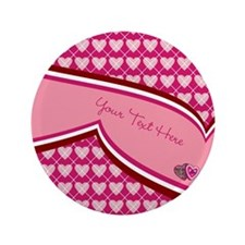 "Pink Hearts Custom 3.5"" Button"