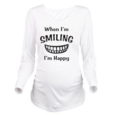 Smiling (Black) Long Sleeve Maternity T-Shirt