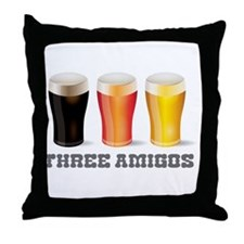 Three Amigos Beer Throw Pillow
