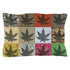 Pot Leaf Patchwork Pillow Case