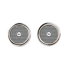 Black and White Houndstooth Cufflinks