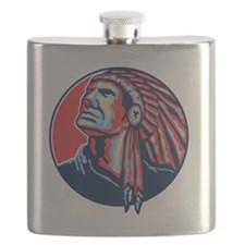 Native American Indian Chief Retro Flask