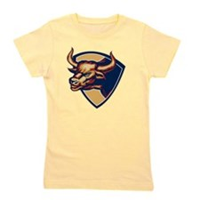 Angry Bull Head Crest Retro Girl's Tee