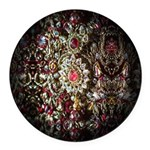 Indian Diamond and Ruby Round Car Magnet