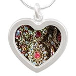 Indian Diamond and Ruby Silver Heart Necklace