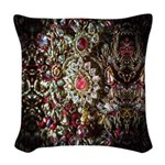 Indian Diamond and Ruby Woven Throw Pillow