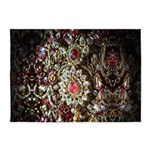 Indian Diamond and Ruby 5'x7'Area Rug